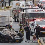 Photo: Car overturns in Schenectady