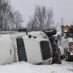Tractor-trailer rolls over Wednesday morning near Amsterdam