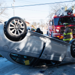 Tuesday crash leaves car on its top in Schenectady; Driver taken to hospital