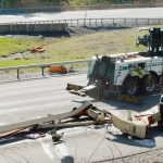 Trailer with boom lift strikes Northway overpass in Clifton Park; Shuts southbound lanes