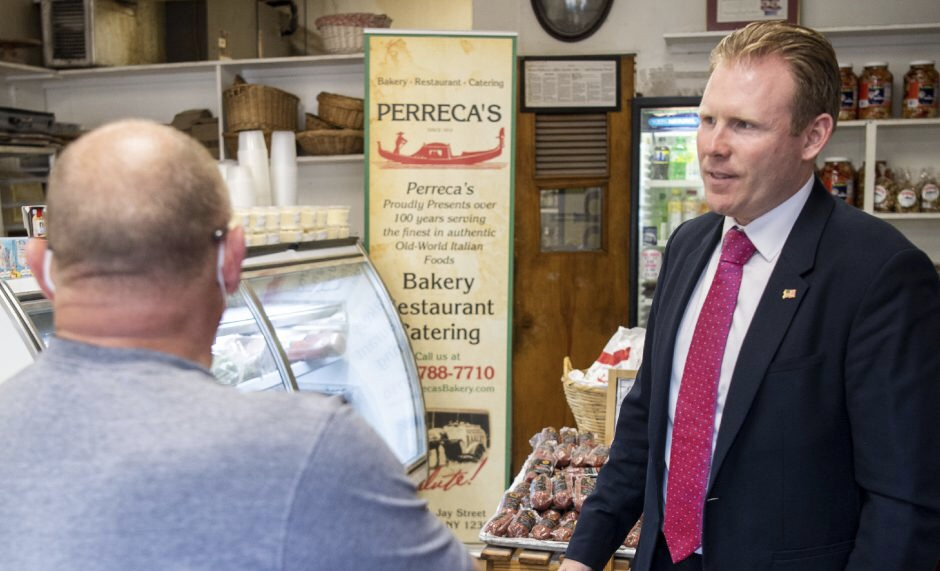 Andrew Giuliani stumps for 2022 votes at Perreca's in Schenectady; Visit not sanctioned by business
