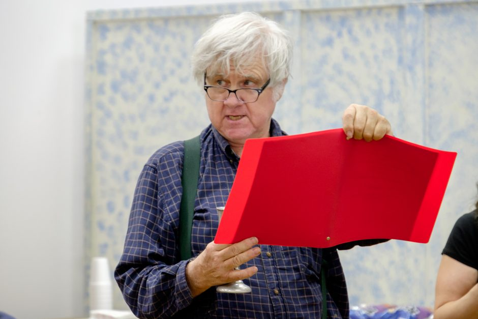 """Scotia's John Reheuser, who plays both Benedict Arnold and Colonel Cox, reads a few lines during rehearsal for """"Drums Along the Mohawk Outdoor Drama,"""" set for Saturday and Sunday at Gelston Castle. (Gerald Skrocki photo)"""
