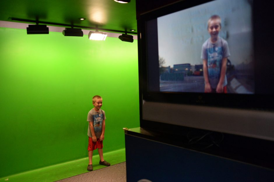 William McKeown, 7, of Schenectady, hosts a weather broadcast at the Children's Museum of Science and Technology in North Greenbush.