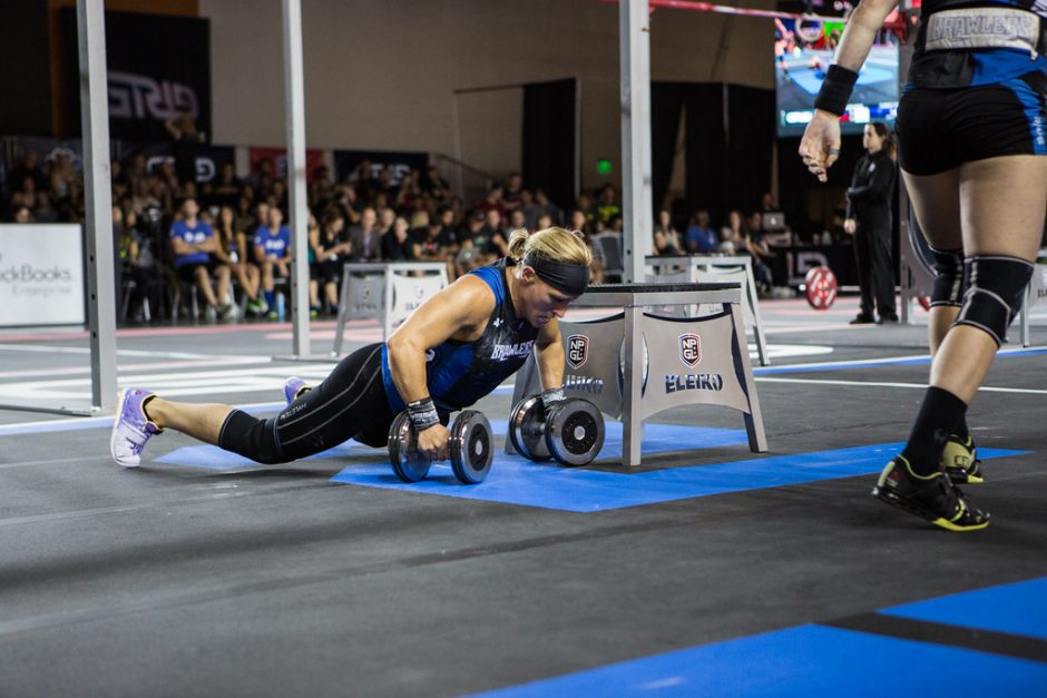 Janet Black, a Burnt Hills native, won the masters women's division at the recent CrossFit World Games. Here she is shown competing as a member of the DC Brawlers of the National Pro Grid League, a professional fitness competition league.