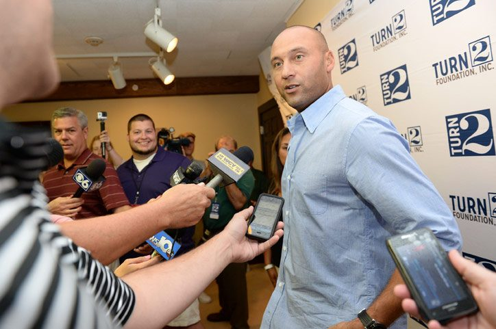 Former Yankees Captain Derek Jeter and his sister Sharlee Jeter speak to the media before a Turn2 Foundation anti-bullying event at Siena College on Tuesday.