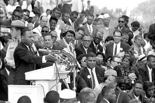 "In this Aug. 28, 1963 photo, Rev. Dr. Martin Luther King Jr., head of the Southern Christian Leadership Conference, gestures during his ""I Have a Dream"" speech as he addresses thousands of civil rights supporters gathered in Washington, D.C."