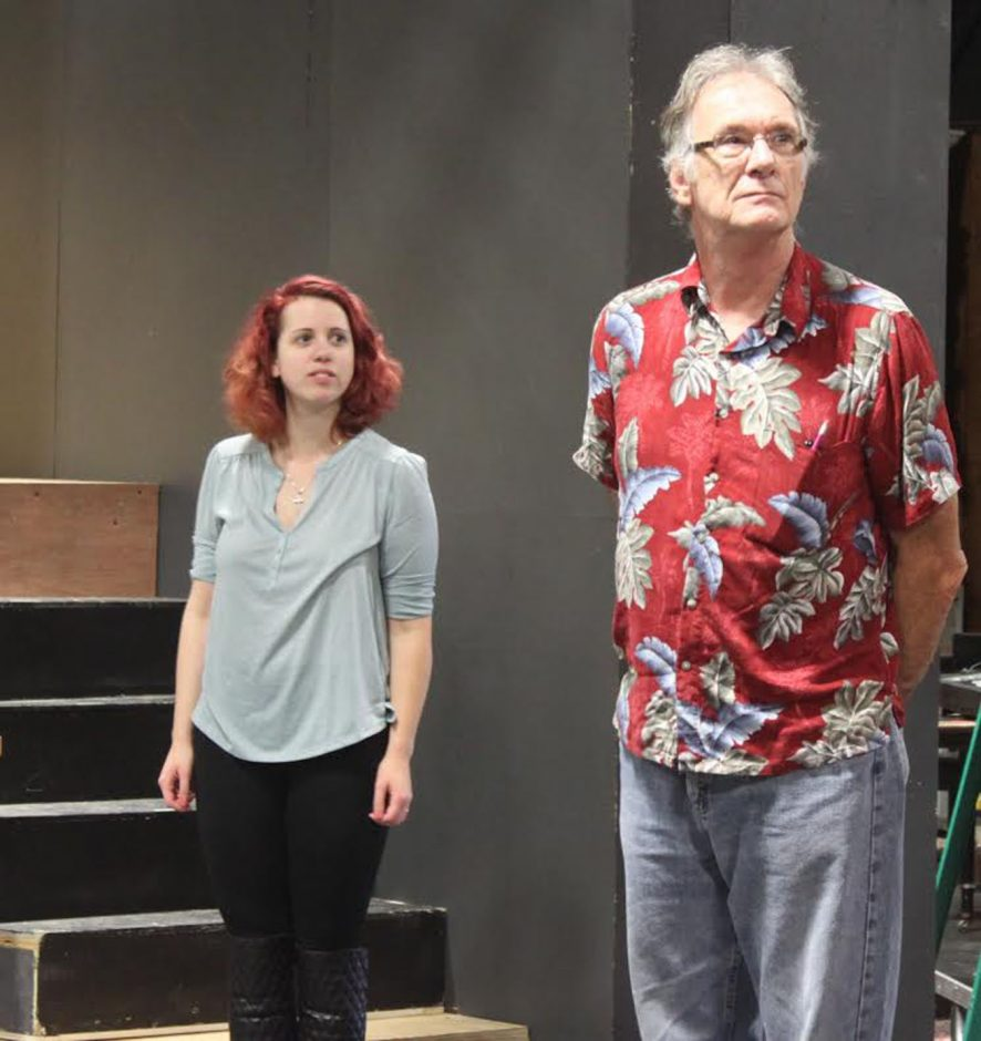 Amanda Garcia and Gary Allan Poe rehearse a scene from 'Black Comedy,' opening Friday at the Oldcastle Theatre in Bennington.