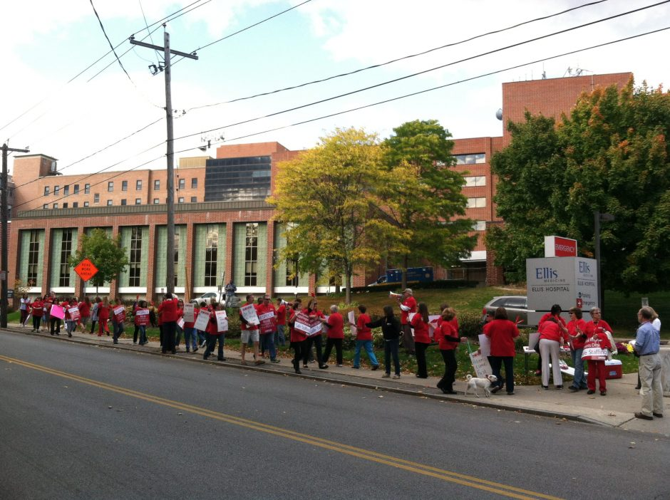 In this Gazette file photo from Oct. 8, nurses march outside Ellis Hospital in Schenectady to raise awareness in their fight for safe staffing levels and fair contracts that they say protect patient care.
