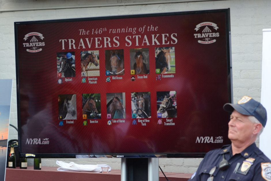A display at Druthers Brewing Company in Saratoga Springs shows the field for Saturday's 147th running of the Travers Stakes. Triple Crown American Pharoah is the 1-5 morning-line favorite