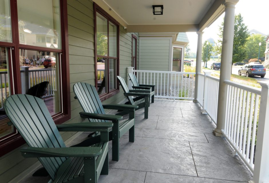 Front porch at the new Union College dorms, called Garnet Commons, located at the corner of Roger Hull Place and Park Place.