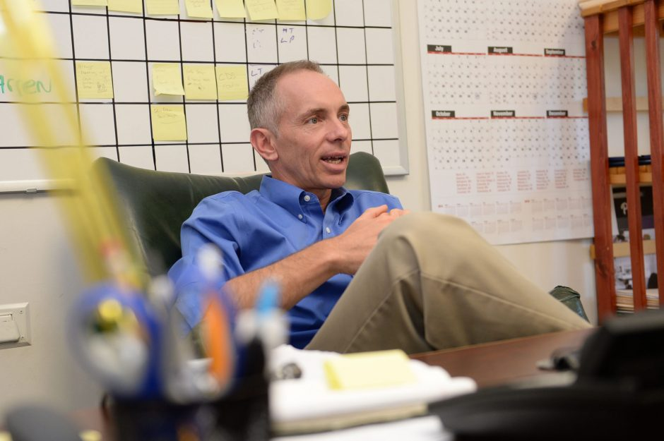 Warren Zeiser, new CEO of Mastroianni Bakery, talks in his office Wednesday, about changes the Rotterdam company is implementing to increase its market share.