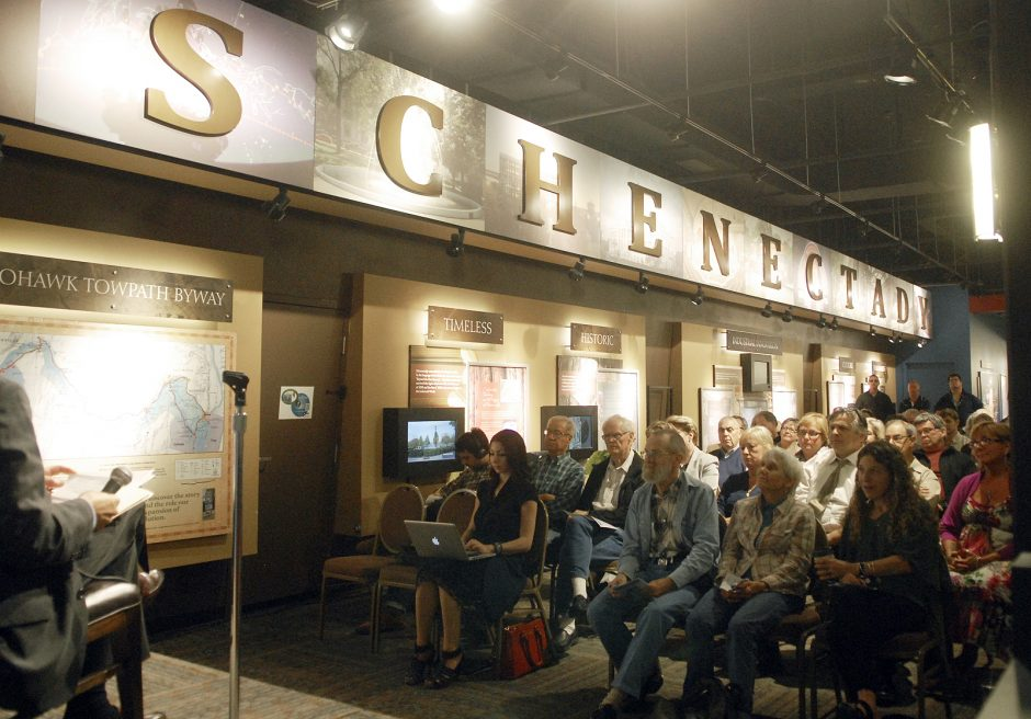Spectators look on during the Schenectady mayoral candidate forum hosted by the League of Conservation Voters Monday evening in the Robb Alley Room at Proctors.