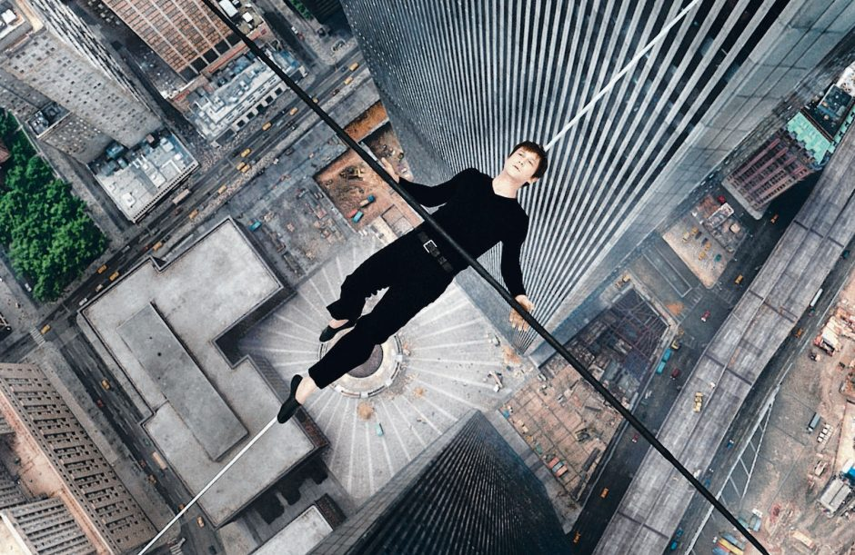 Joseph Gordon-Levitt portrays Philippe Petite in a scene from 'The Walk,' a film about the high-wire artist's cabled walk between the Twin Towers in 1974. (Sony Pictures)