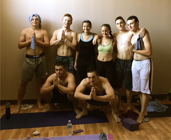 A group of Saratoga High School football players after taking a yoga class with Kim Beekman.
