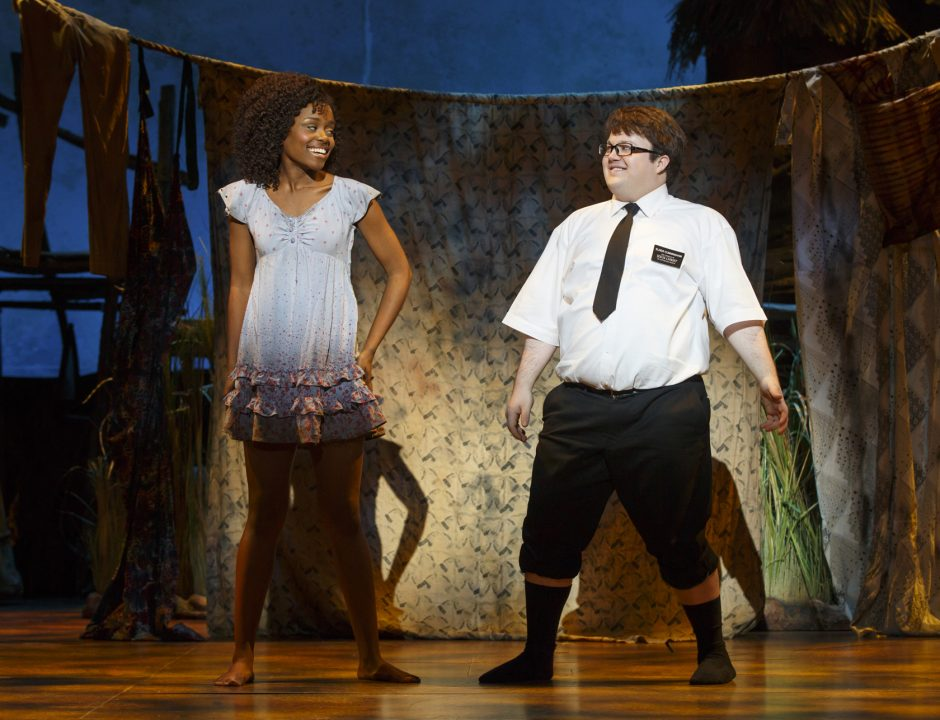 """Denee Benton and Cody Jamison Strand in a scene from """"The Book of Mormon."""" (Joan Marcus)"""