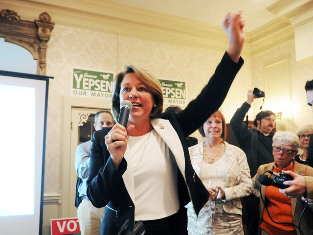 On Tuesday evening, November 3, 2015, in Saratoga Springs at the Inn at Saratoga, Saratoga Springs City Mayor Joanne Yepsen celebrates victory for her second term.