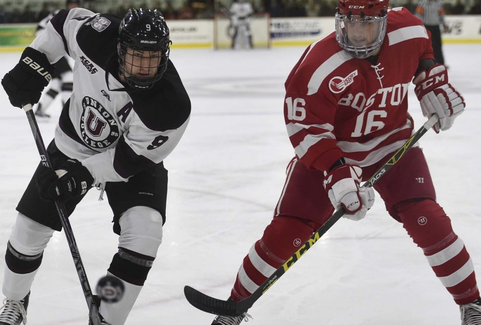 Sophomore Ryan Scarfo has a team-high five goals for the Union College hockey team this season. The Dutchmen host Brown tonight at 7.