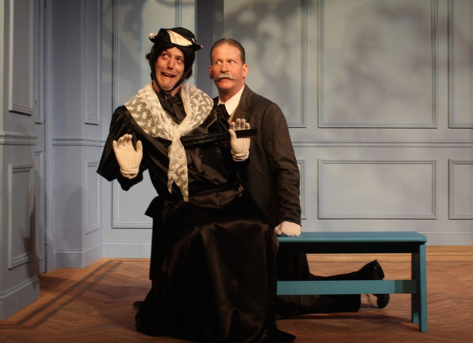 "Nate Beynon, left, is Lord Fancourt Babberley (posing as Charley's Aunt) and Patrick White plays Sir Francis in the Curtain Call Theatre production of ""Charley's Aunt."" (Sara Alonge photo)"