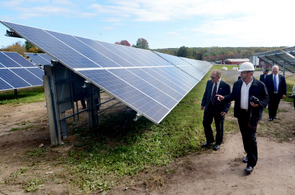 The new Schenectady County Solar Farm on Hetcheltown Rd. in Glenville on Thursday October 8, 2015. With 1944 panels the project is expected to save the County more than $30,000 in the first full year, and more than $1 million over the next 20 years. Vi...