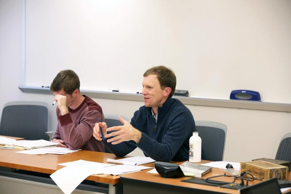 Andrew Morris, an associate professor in the department of history at Union College, teaches a class earlier this month about President Franklin D. Roosevelt and World War II.