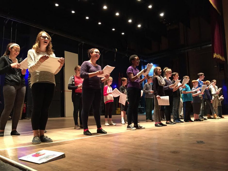 The cast of 'A Charlie Brown Christmas' rehearses for Saturday's opening at the Palace Theatre in Albany.