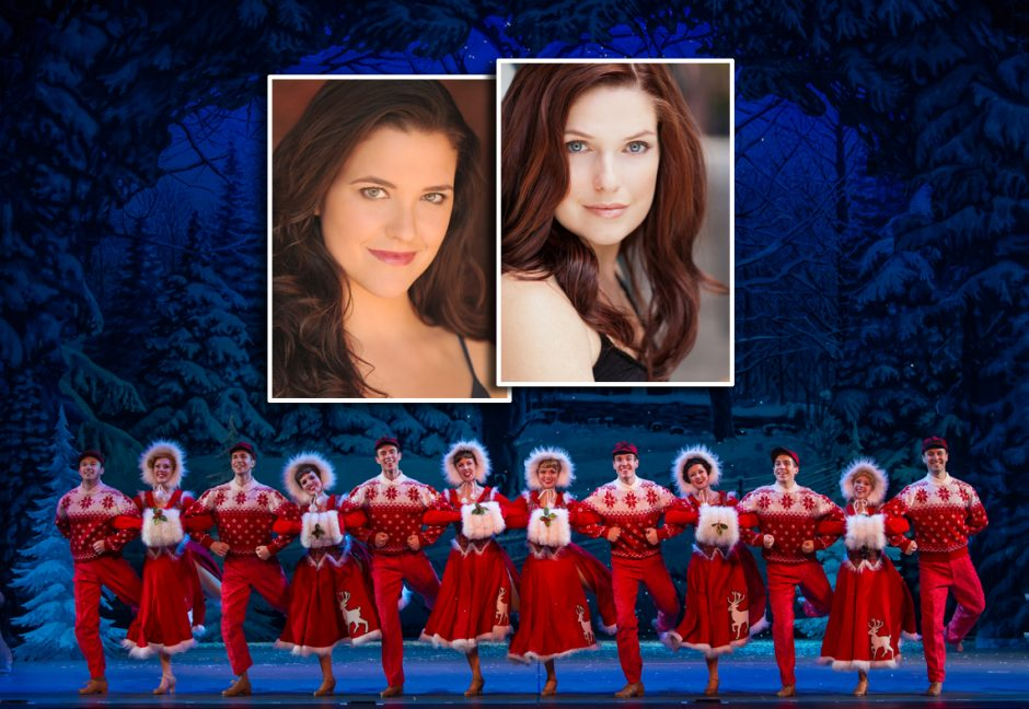 "Kerry Conte, inset left, and Rachel Rhodes-Devey, right, will appear in ""Irving Berlin's White Christmas,"" opening Tuesday night at Proctors. The pair grew up just a few houses away from each other in Slingerlands. Also pictured is a skating scene from..."