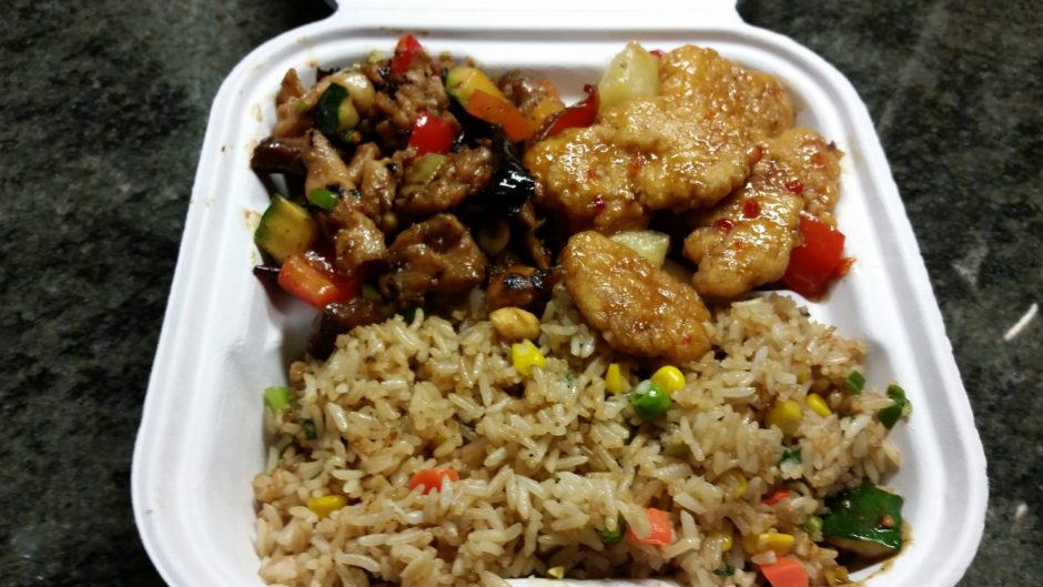 Fried Rice with Kung Pao Chicken and Sweet Fire Chicken from Panda Express (Caroline Lee).