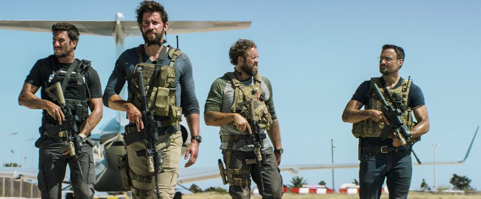 "Pablo Schreiber plays Kris ""Tanto"" Paronto, John Krasinski plays Jack Silva, David Denman plays Dave ""Boon"" Benton and Dominic Fumusa plays John ""Tig"" Tiegen in ""13 Hours: The Secret Soldiers of Benghazi."""