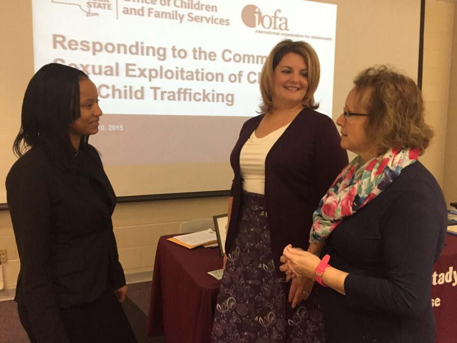 Survivor Asia Graves, left, with Cassie McCraken, center, and Melanie Conte discuss how organizations like SAFE Inc. respond to commercial sexual exploitation of children in Schenectady. The women spoke at a conference at Schenectady County Community C...