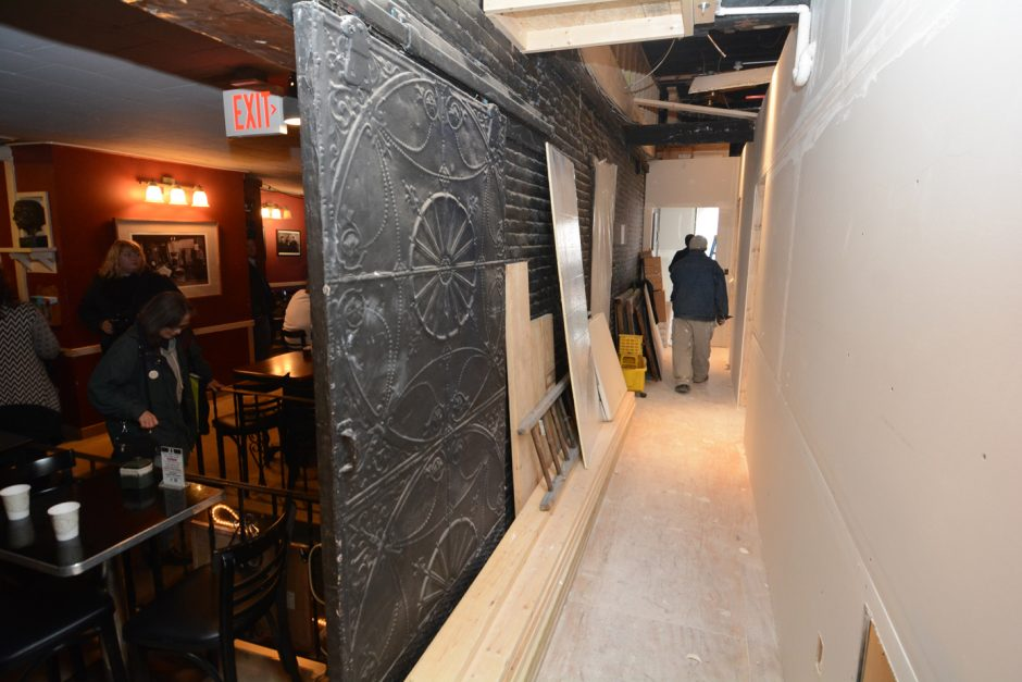 A look between old and new at Caffe Lena. New construction on right is seen that will revitalize the legendary 55-year old Caffe' Lena on Phila St. in Saratoga. The revitalization is part of Campaign for Caffe' Lena.