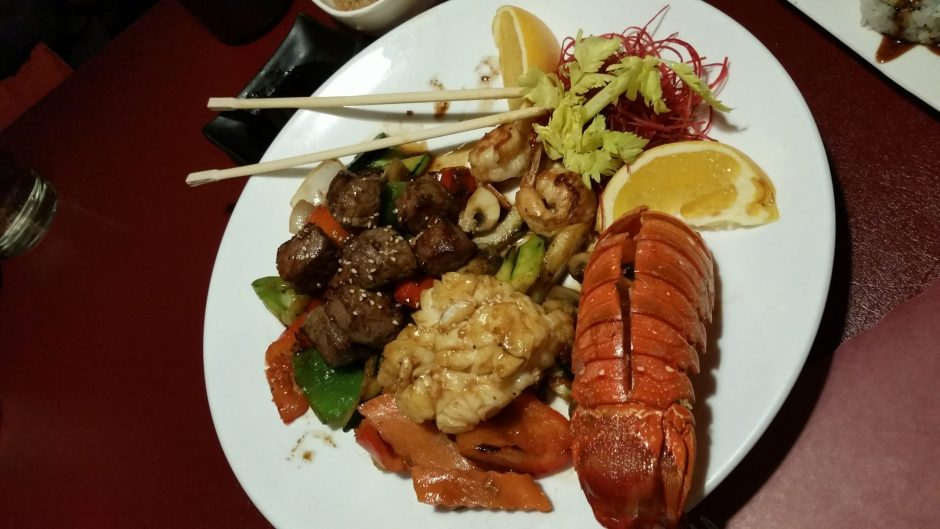 The Hibachi Combination included miso soup or salad (I chose the salad) with two small shrimp, carrots, onions, red and green peppers, and a choice of meat (or more vegetables). I chose the lobster tail and one-inch cubes of tender steak. (BEVERLY M. E...
