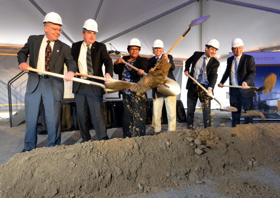 Officials participate in a groundbreaking of the Rivers Casino & Resort at Mohawk Harbor in Schenectady on Wednesday, Feb. 3, 2016. From left are Anthony Jasenski, chairman of the Schenectady County Legislature; Schenectady Mayor Gary McCarthy; Mary Ch...