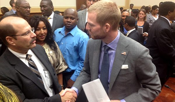 Dr. Joseph Marotta, left, meeting Kent Brantly, an Ebola survivor, at congressional hearings in October 2014.