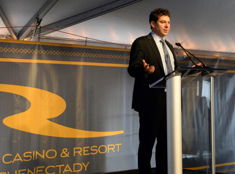 Rush Street Gaming CEO Greg Carlin speaks at a ceremonial groundbreaking for the Rivers Casino and Resort at Mohawk Harbor on Feb. 3.