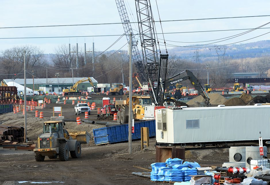 Mohawk Harbor construction site, as seen from Erie Boulevard in Schenectady on Tuesday, Feb. 2, 2016.