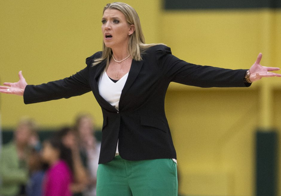 Siena women's basketball coach Ali Jaques reacts to a call during a game against Monmouth earlier this year.