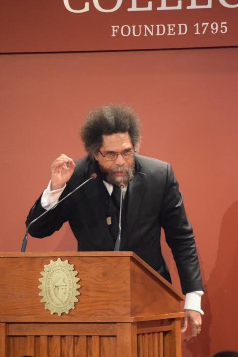 Civil rights activist Cornel West speaks at Union College on Thursday night.