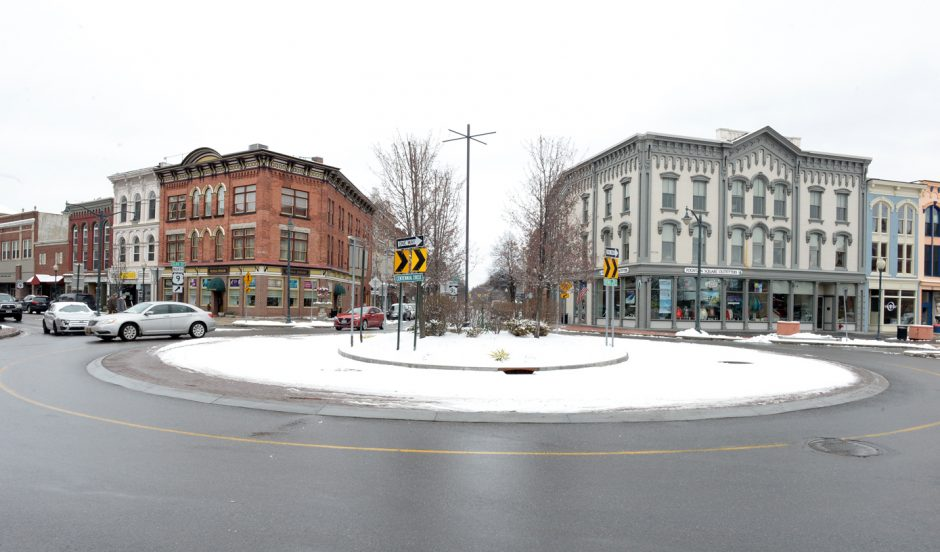Centennial Circle, near the Glens Falls Civic Center, is shown in a February 2016 photo.