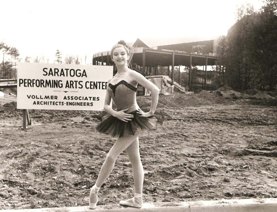 New York City Ballet dancer Violette Verdy poses next to a sign for SPAC during construction of the arts facility in 1965 (SPAC photo).