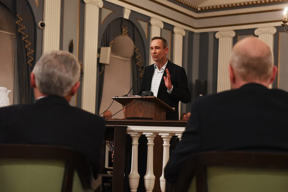 Jim Salengo, executive director of Downtown Schenectady Improvement Corporation, speaks at the Schenectady City Council meeting regarding the street names at Mohawk Harbor on Monday evening, March 14, 2016.