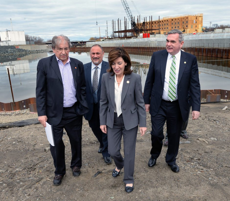 Lt. Gov. Kathleen Hochul visited the Rivers Casino & Resort construction site on Tuesday, March 15, 2016. Walking with Hochul is Galesi Group Chief Operating Officer David M. Buicko,  Joe Scibetta, vice president of operations for Rush Street Gaming, a...