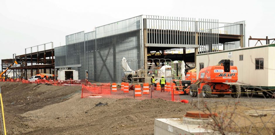 The Rivers Casino and Resort at Mohawk Harbor off Erie Boulevard, pictured on Wednesday, is taking shape and is expected to open by next March.