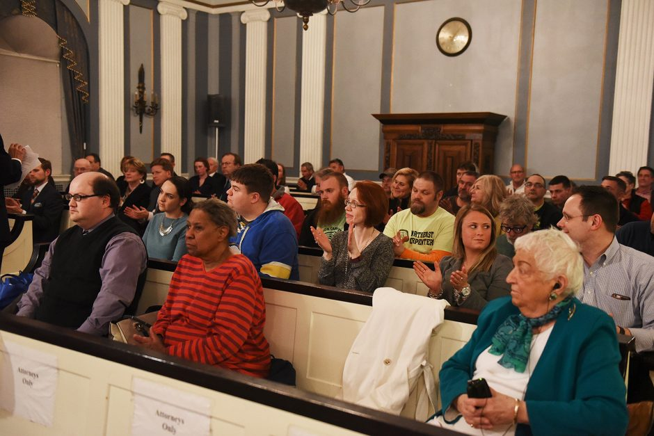 Members of the community listen at the Schenectady City Council meeting on March 14 as street names for  Mohawk Harbor are discussed. By a 5-2 vote, the names Rush Street, Harborside Drive and Mohawk Harbor Way were approved by the council Monday night.