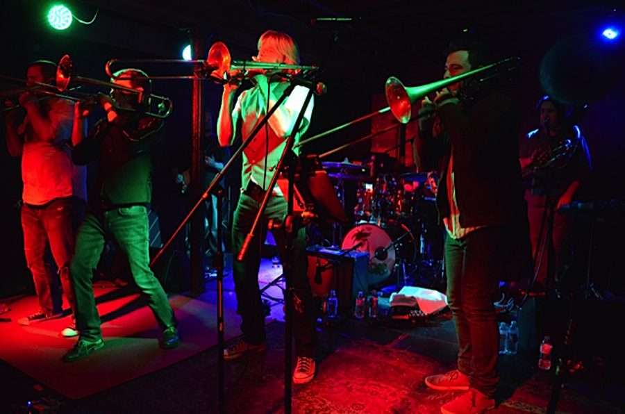 Musicians performing with Bonerama on Thursday at Parish Public House included, from left, trombonists Greg Hicks, Mark Mullins and Craig Klein, drummer AJ Hall and guest trombonist Alex Slomka.