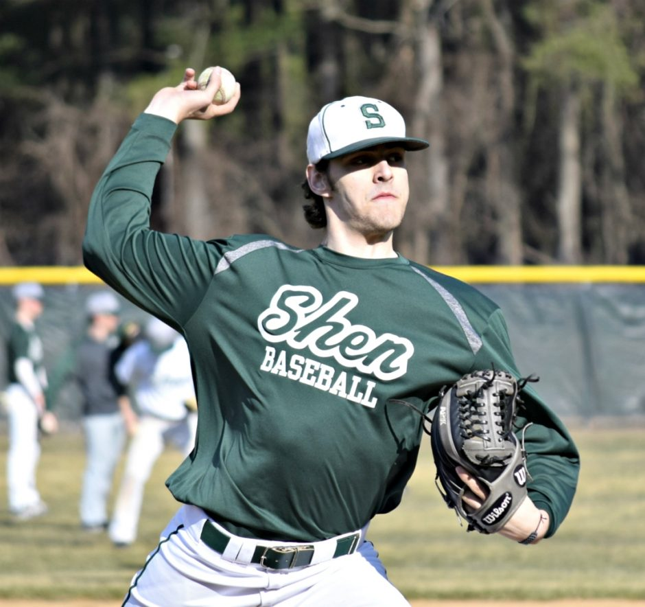 Ben Anderson pitches during a Shenendehowa baseball practice on March 22.
