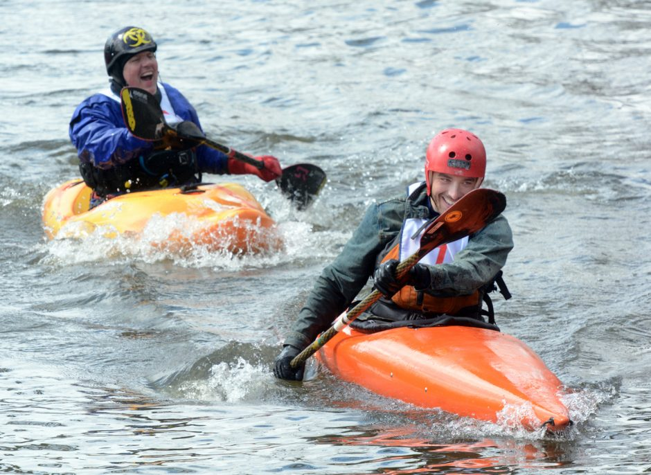 The 43rd annual Tenandeho White Water Derby was held on Sunday April 3, 2016. Bill Paley and Steven Brabetz enjoy a laugh at the start of the kayak division in Coons Crossing.