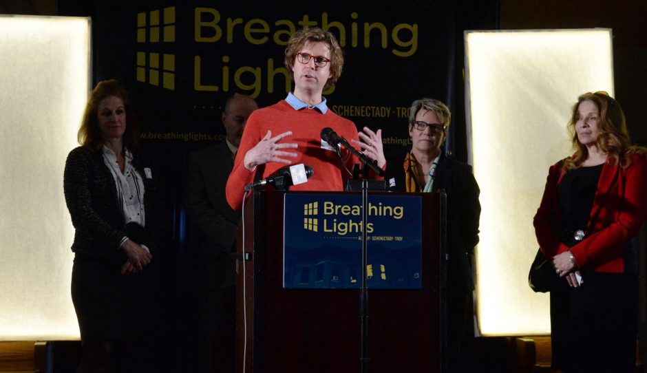 Architect Adam Frelin talks at a news conference on Wednesday, April 6, 2016, in the former St. Mary's Roman Catholic Church at 820 Eastern Ave. in Schenectady about the Breathing Lights project scheduled to get underway in the Capital Region in the fa...