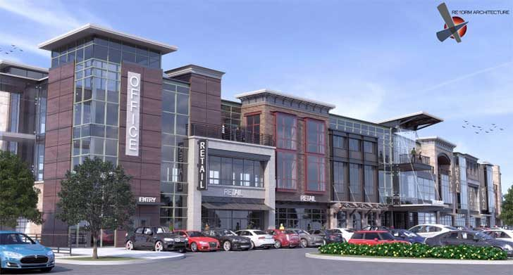 A rendering of the office and retail building planned for Mohawk Harbor in Schenectady.