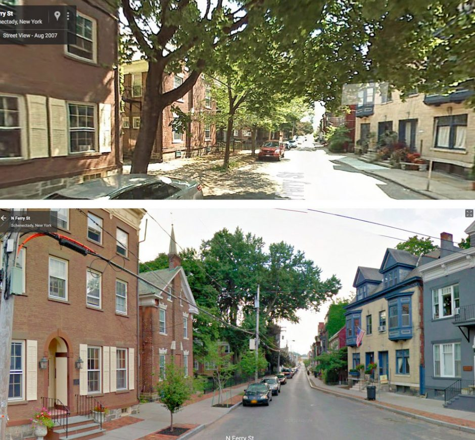 At top, North Ferry Street in Schenectady is seen from Lawrence Circle in 2007, before sidewalk renovations resulted in the removal of older trees, and above, in 2011, three years after new, smaller trees were planted in their place. (Courtesy: Save Ou...