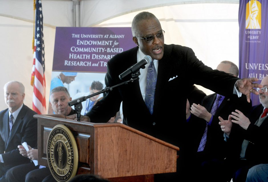 University at Albany President Robert Jones speaks at a news conference Wednesday announcing a $10 million National Institutes for Health endowment grant to the school to foster health disparities research.
